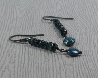 Blue Coin Pearl Earrings London Blue Topaz Gemstone Stack Long Oxidized Sterling Silver Gift for Mom