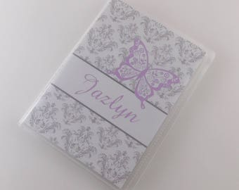 Girl Photo Album Purple Butterfly 4x6 or 5x7 Pictures Personalized Baby Shower Gift - Gray Damask 743
