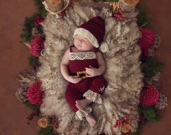 PATTERN, Baby Santa Photo Prop Outfit and Hat Set, Baby Photo Prop, Gender Neutral Photo Prop, Christmas Photo Outfit, Baby Santa Outfit