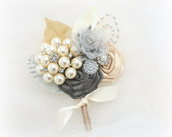 Groom Boutonniere Champagne Gray Charcoal Ivory Wedding Boutonniere Brooch Boutonniere Groom Buttonhole Groom Bout Vintage Boutonniere
