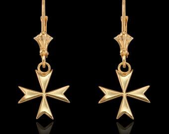 14K Gold Maltese Cross Earrings (yellow, white, rose gold)