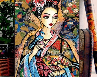 Asian woman bird painting, home decor wall decor woman art, ACEO wood block, CG