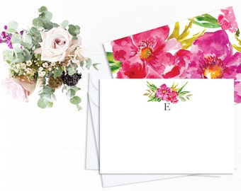 Personalized Floral stationery Cards - Monogram Stationery Set with Floral illustration - 6, 12 or 24 cards - Monogram Flowers notecards