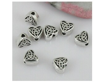 22 Heart Spacer Beads with Celtic Trinity Knot Design Small Triquetra Irish Hearts Atq Silver Tone for Jewelry Design  7x6.5 mm