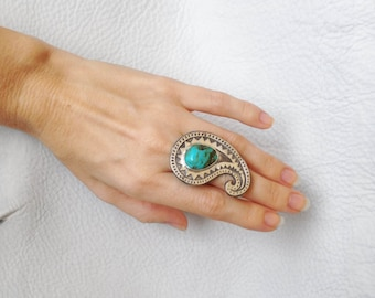 Turquoise Paisley Silver Ring Sterling Silver Natural Turquoise Paisley Zigzag Statement Ring Handmade Jewelry Size 6