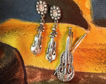 Sterling Violin Pin and Pewter Violin Earrings