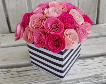 spiral rose centerpiece paper flower centerpiece shade of pink centerpiece wedding shower