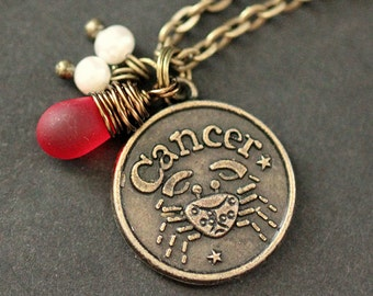 Cancer Necklace. Zodiac Necklace. Sun Sign Charm Necklace with Glass Teardrop and Pearls. Handmade Jewelry.