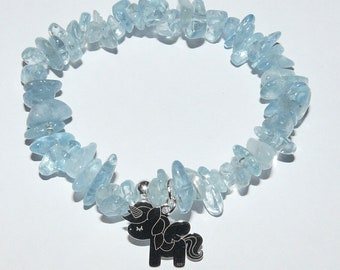 Handmade Aquamarine and Sterling Silver Stretch Bracelet for girls with unicorn charm