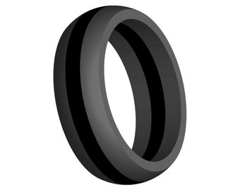 Men's Gray Silicone Wedding Ring Band Black Line FlexFit Hypoallergenic Modern Sports Athletic Active Wear Mans Jewelry FREE SHIPPING