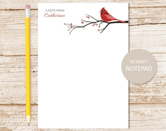 personalized cardinal notepad . bird note pad . berries, tree branch, nature personalized stationery . stationary gift