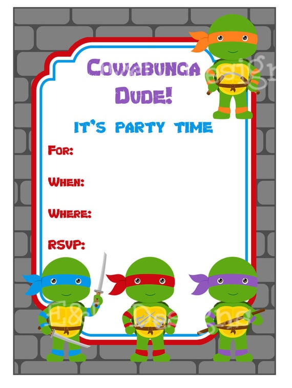 Crafty image inside ninja turtle birthday invitations printable