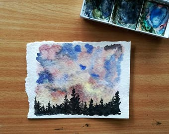 Original Watercolor Painting, Sunset Sky, Evergreen Trees, Pine Trees, Pacific Northwest, Cloudy Sky, Dark Forest, Nature, Wall Art, Decor