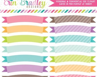 80% OFF SALE Digital Scrapbook Clipart Elements Colorful Banner Flags Clip Art for Personal & Commercial Use
