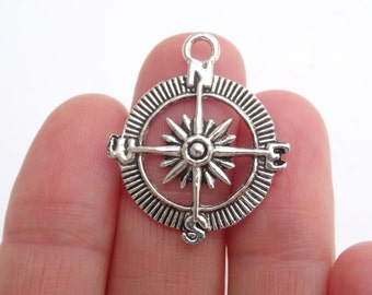 7 Compass Charms Antique Silver 30mm x 25mm - SC283