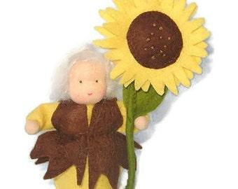Felt Sun flower - Waldorf inspired - Nature table - Antroposofisch - Seizoentafel - Zonnebloem