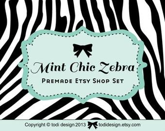 Mint Chic Zebra - Premade shop set & business card design