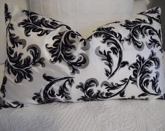 Beautiful Silky Soft Velvet (Texture) Bedroom Pillow Covers. 16 x 26.Living Room Glam.Black.White.Shimmer Silver Grey.Glam Room.Home Decor