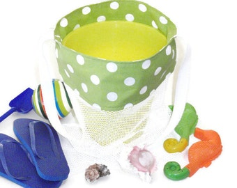 Kids Mesh Sand Toy Bag For Beach or Pool, Lime Green Tote With White Polka Dots and Shoulder Strap, Gift for Girls or Boys