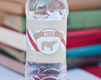 DIY Printable Water Bottle Labels - Zoo/Safari Party