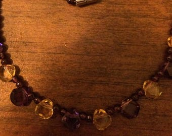 Genuine Garnet and Citrine Faceted Bead Necklace