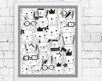 Bunnies Art Printable, Digital Art Printable, animal clipart, Instant Download Art