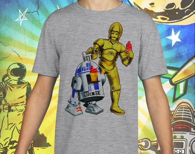 Star Wars / R2D2 and C3PO Dune Sea Soft Ice Cream / Gray Child Size Performance T-Shirt