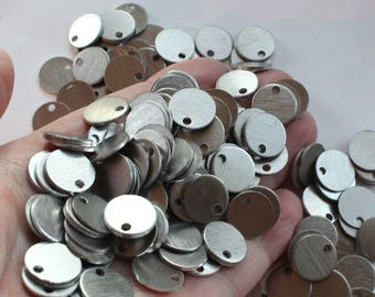 """1/2"""" Stamping Blanks, (30) 20 gauge (0.8mm) brushed aluminum discs, small 12.84mm metal tags, 2.1mm hole, lightweight rounds (30 per set)"""