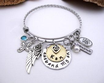 Husband Memorial Jewelry, Husband  Memorial Bracelet, My Husband  My Angel, Husband  Bereavement, Loss of Husband, Husband Loss
