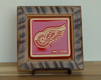 Reclaimed Wooden Framed Pewabic Pottery  Red Wings Tile   6404 Woodward Ave