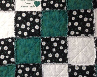 Homemade Quilt, Rag Quilt, Throw, Quilt For Sale, Quilts Handmade, Family Quilt, Country Throw, Green, Handmade Blanket, Embroidery Blanket