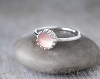 Rose Quartz Ring in Sterling Silver - Handcrafted Artisan Silver Ring  - Sterling Silver Rose Quartz Stack Ring