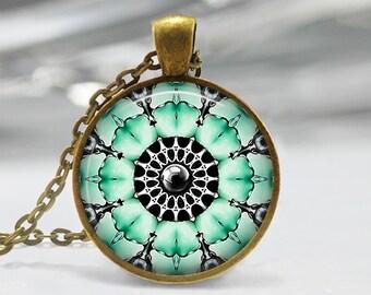 Jewelry Art Pendant, Jewelry Flower Pendant, Enamel Art Glass Pendant, Bronze Silver, Glass Picture Necklace, Jewelry Glass Dome Pendant 208