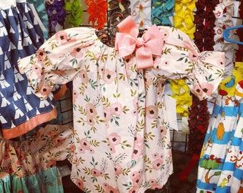 Coral Flower Dress - Birthday Dress - Girls Fall Dress - BOHO Dress - Peasant Dress - 3/4 sleeve dress - Groovy Gurlz