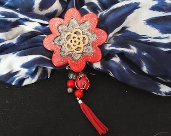 Scarf red and black flower jewelry