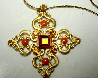 Jeweled Gold Iron Cross Pendant on Gold Chain, 1980s Autumn Topaz Glass Rhinestones on Religious Christian Necklace, Glam Filigree Gold