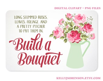 Shabby Chic Rose Bouquet in a Pitcher Digital Clipart  - Instant Download