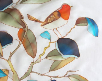 Small silk scarf, bird white scarf, hand painted scarf, nature lover gift, bandana, ornithology, silk art, silk accessory - made TO ORDER