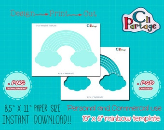 Rainbow Template -INSTANT DOWNLOAD- PRINTABLE Make your own Party Supplies, Rainbows templates, Commercial & Personal Use