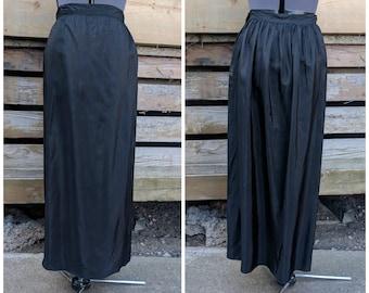 Vintage 1940's black taffeta full length narrow column skirt