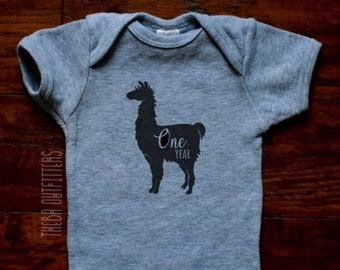 One year Baby Clothes, First Birthday Onesie, Llama Baby Bodysuit, Baby Shower Gift, Baby Boy Girl Clothes, Baby Bodysuit, Funny Baby Onesie
