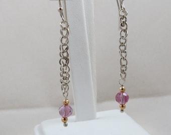 Sterling Silver Loop In Loop Dangle Earrings with 14k and Purple AB Beads OOAK