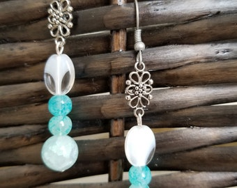 Flowers and Glass earrings