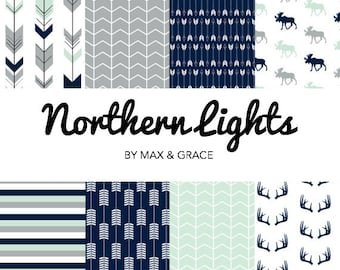Northern Lights. Navy, Mint, and Gray Bedding. Woodland Crib Bedding. Boy Crib Bedding. Baby Bedding. Woodland Nursery. Deer Crib Set.
