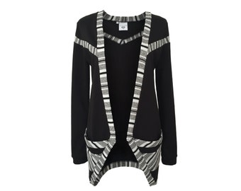 eisbörg como Cardigan black patterned - geometric jacket with stripes