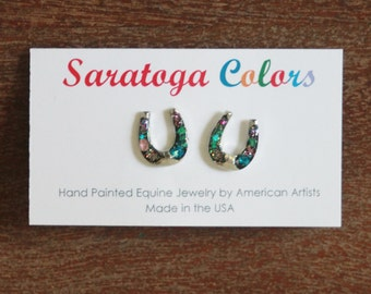 Hand Painted Horse Shoe Earrings - Medium