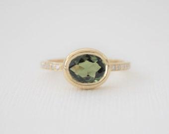 Oval Rose Cut Green Sapphire Bezel Diamond Ring in 14K Yellow Gold