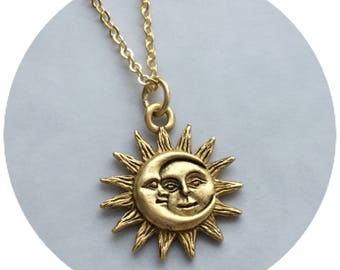 Sun and Moon necklace, 18mm gold plated pewter charm, Sun Moon soulmate,