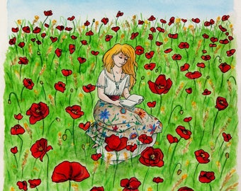 """Card watercolor poppies - series """"Alice"""" A4 * watercolor card The poppy field in """"Alice"""" collection - A4 *."""
