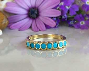 20% off-SALE!! Turquoise Ring - Sleeping Beauty Turquoise - December Ring - Gold Ring - Turquoise Jewelry - Simple Ring - Gemstone Band